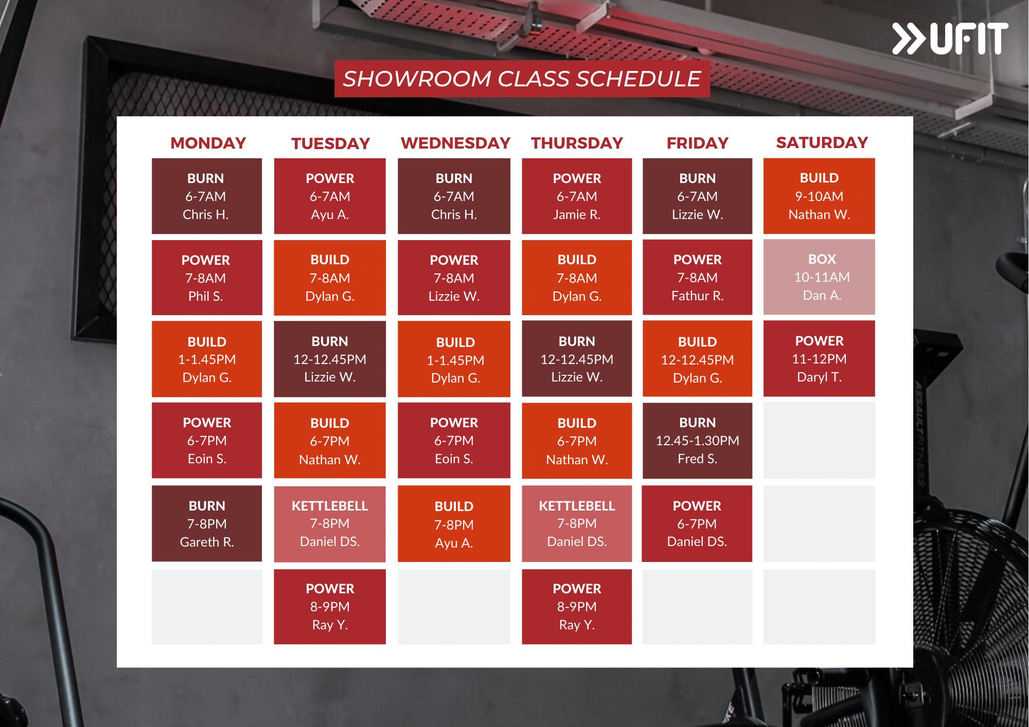 UFIt Showroom Group Fitness Class Schedule