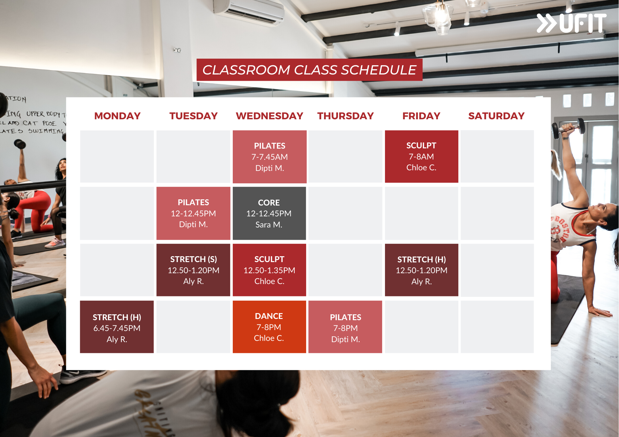 UFIT Classroom Group Fitness Class Schedule