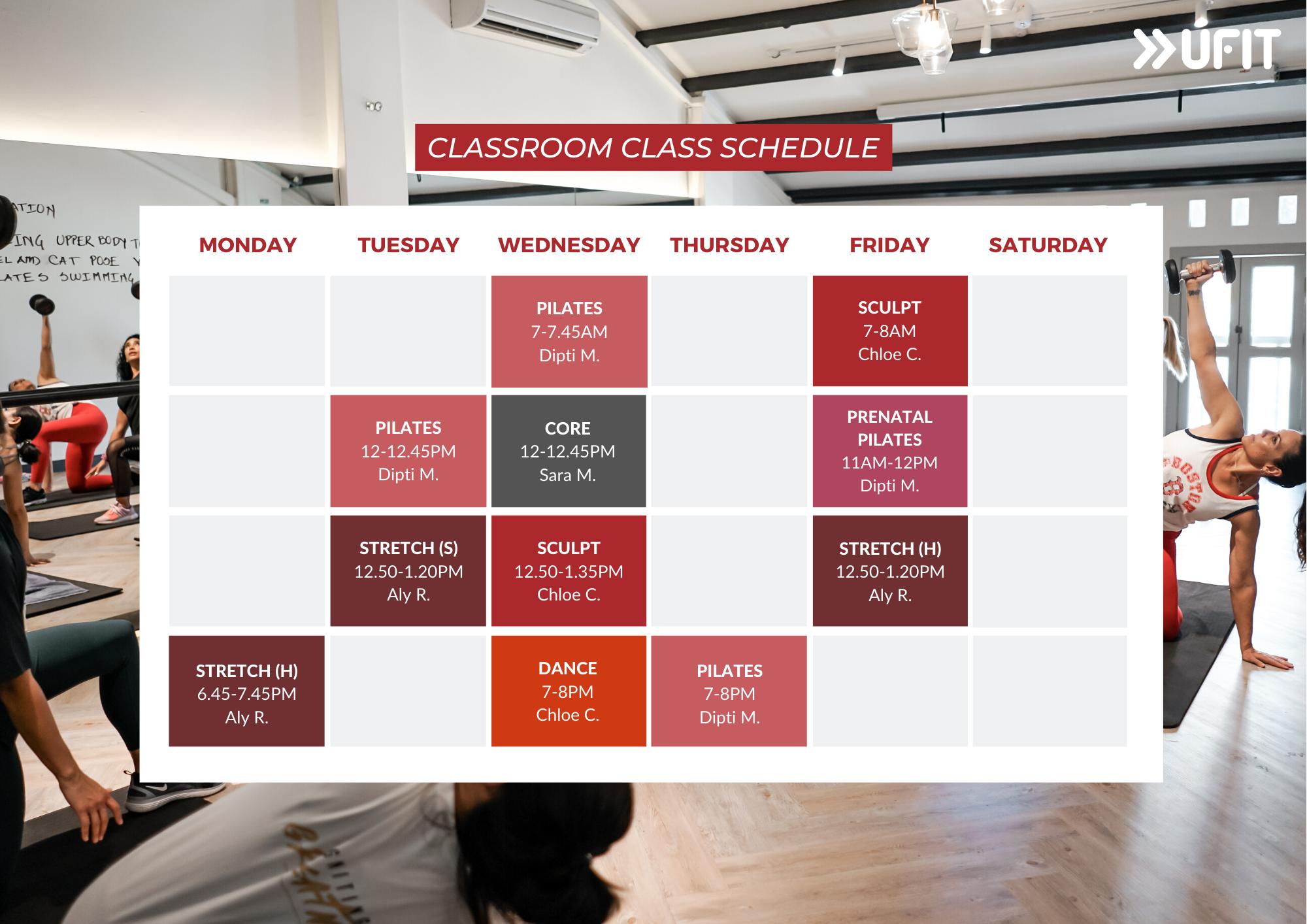 UFIT Club St Indoor Class Classroom Schedule