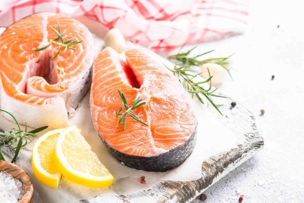 Fresh salmon and lemon slices