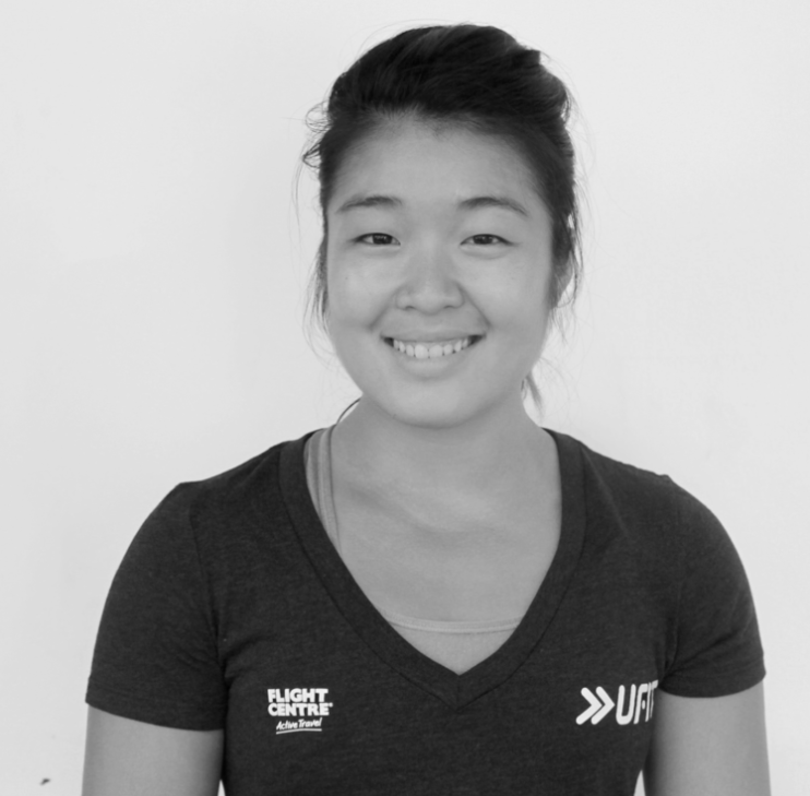 Melanie Lim   is a certified CrossFit coach and personal trainer, accumulating over 200 hours of coaching in various landscapes in Asia.  She has experience building boxes and communities around the common goal of achieving fitness, and finds motivation in seeing her clients desire and pursue change aggressively.