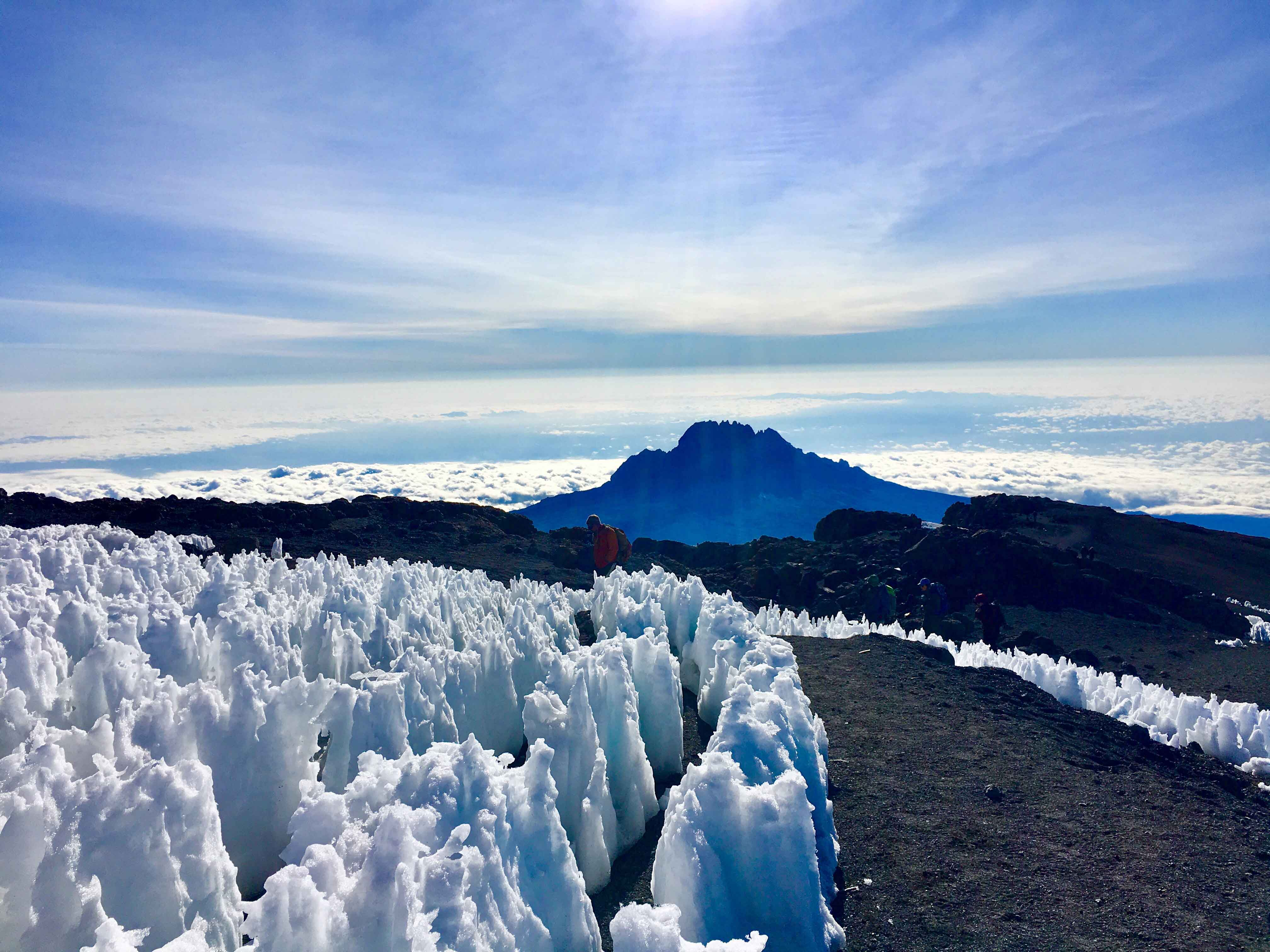 Ice-capped terrain at Mount Kilimanjaro